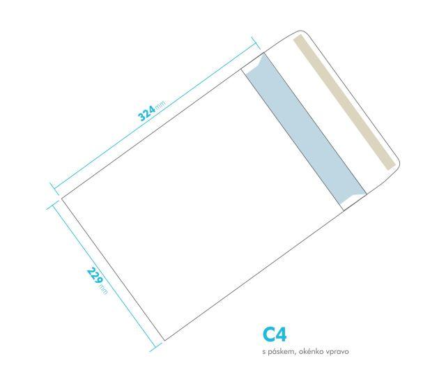 Dopisní obálka - C4 s páskem - okénko vpravo