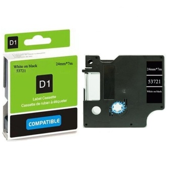 Kompatibilní páska DYMO 53721 (S0721010), 24mm, bílý tisk na černém podkladu