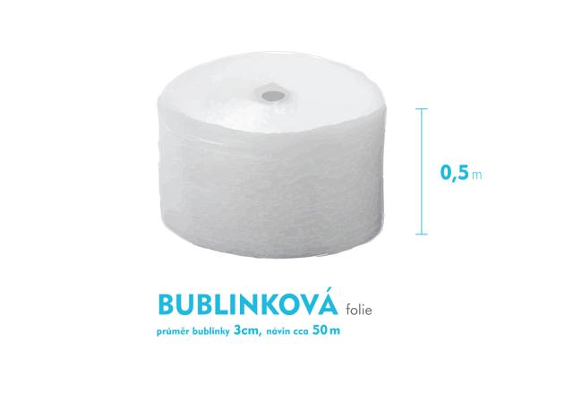Bublinková fólie 3cm - 50cm x 50m - šíře x návin