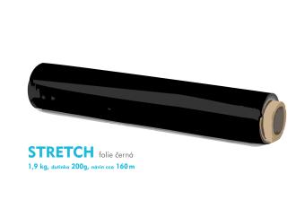 Stretch fólie - 1,9kg - černá - dutinka 200g, návin cca 160m