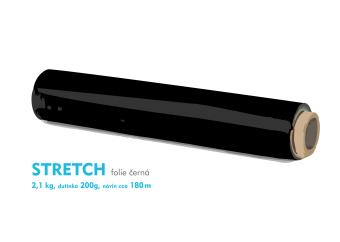 Stretch fólie - 2,1kg - černá - dutinka 200g, návin cca 180m