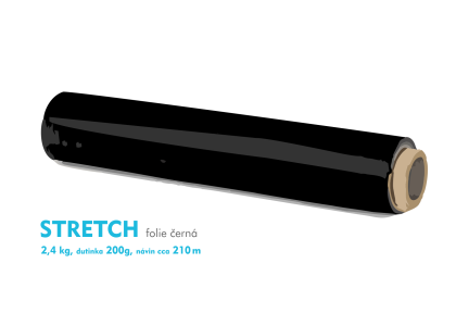 Stretch fólie - 2,4kg - černá - dutinka 200g, návin cca 210m
