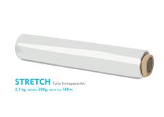 Stretch fólie - 2,1kg - transparentní - dutinka 200g, návin cca 180m