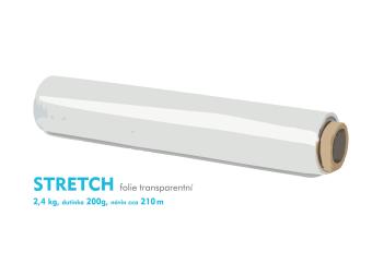 Stretch fólie - 2,4kg - transparentní - dutinka 200g, návin cca 210m