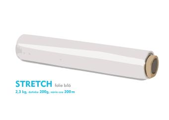 Stretch fólie - 2,3 kg - bílá - dutinka 200g, návin cca 200m