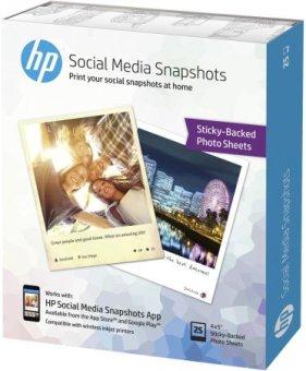 Fotopapír 10x13cm HP Social Media Snapshots, 25 listů, 265 g/m2, lesklý, bílý, inkoustový, samolepicí (W2G60A)
