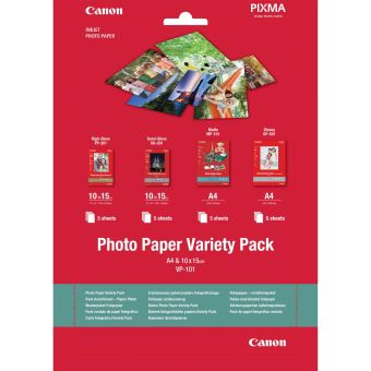 Fotopapír 10x15cm, A4 Canon Variety Pack, 20 listů, lesklý a matný, bílý, inkoustový (VP-101)