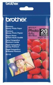 Fotopapír 10x15cm Brother Premium photo, 20 listů, 190 g/m2, lesklý, bílý, inkoustový (BP-61)