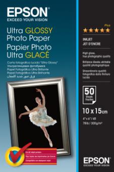 Fotopapír 10x15cm Epson Ultra Glossy, 50 listů, 300 g/m2, lesklý, bílý, inkoustový (C13S041943)