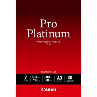 Fotopapír A3 Canon Pro Platinum, 20 listů, 300 g/m2, lesklý, bílý, inkoustový (PT-101)