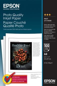 Fotopapír A4 Epson Photo Quality Ink Jet, 100 listů, 102 g/m2, matný, bílý, inkoustový (C13S041061)