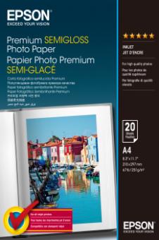 Fotopapír A4 Epson Premium Semigloss, 20 listů, 251 g/m2, pololesklý, bílý, inkoustový (C13S041332)