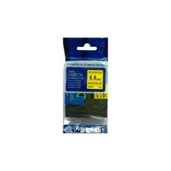 Kompatibilní páska s Brother HSE-621, 8,8mm, černý tisk na žlutém podkladu, smršťovací bužírka