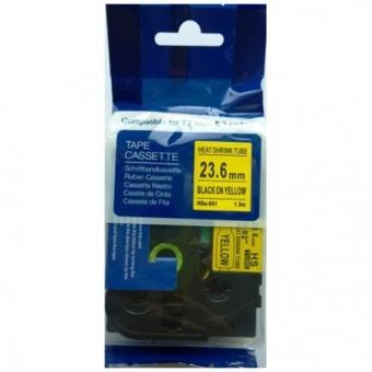 Kompatibilní páska s Brother HSE-651, 23,6mm, černý tisk na žlutém podkladu, smršťovací bužírka