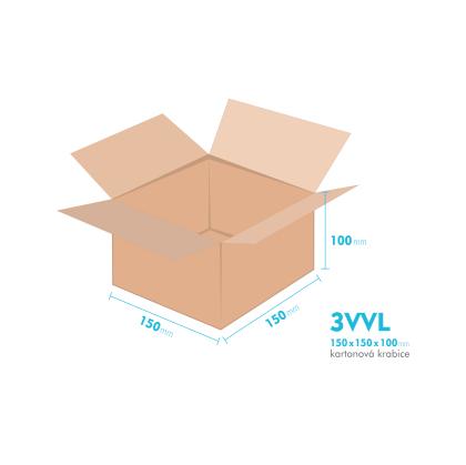 Kartonová krabice 3VVL - 150x150x100mm - vnitřní 145x145x80mm