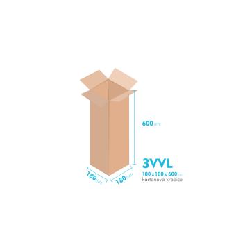 Kartonové krabice 3VVL - 180x180x600mm - vnitřní 175x175x590mm