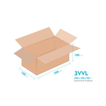 Kartonové krabice 3VVL - 200x100x100mm - vnitřní 195x95x90mm