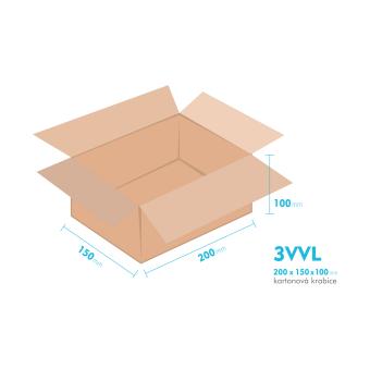 Kartonové krabice 3VVL - 200x150x100mm - vnitřní 195x145x90mm