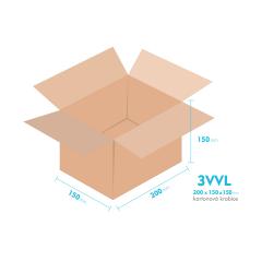 Kartonové krabice 3VVL - 200x150x150mm - vnitřní 195x145x140mm