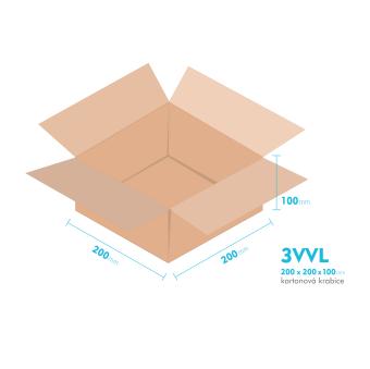 Kartonové krabice 3VVL - 200x200x100mm - vnitřní 195x195x90mm