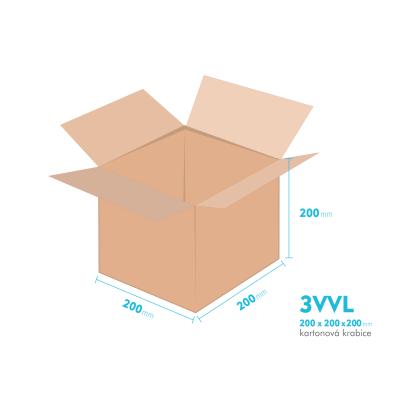 Kartonové krabice 3VVL - 200x200x200mm - vnitřní 195x195x190mm