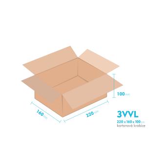 Kartonové krabice 3VVL - 220x160x100mm - vnitřní 215x155x90mm