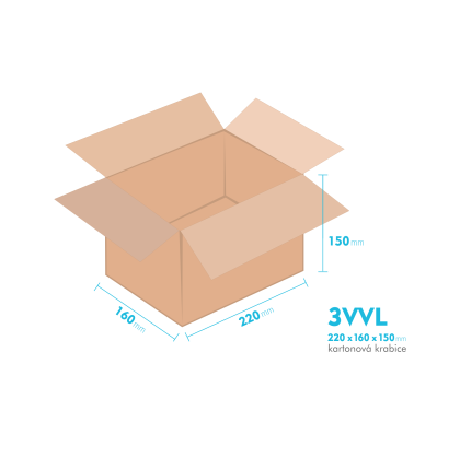Kartonová krabice 3VVL - 220x160x150mm - vnitřní 215x155x140mm