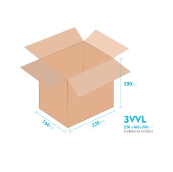 Kartonové krabice 3VVL - 220x160x200mm - vnitřní 215x155x190mm