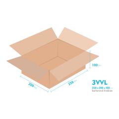 Kartonové krabice 3VVL - 250x200x100mm - vnitřní 245x195x90mm