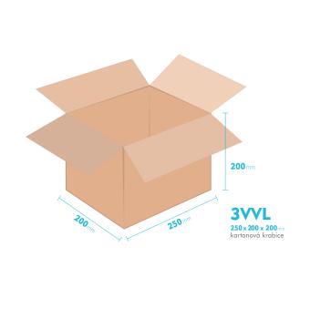 Kartonové krabice 3VVL - 250x200x200mm - vnitřní 245x195x190mm