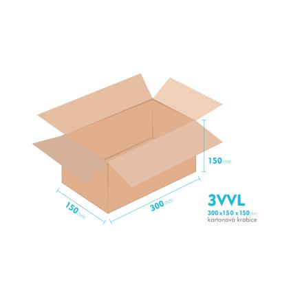 Kartonové krabice 3VVL - 300x150x150mm - vnitřní 295x145x140mm