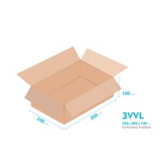 Kartonové krabice 3VVL - 300x200x100mm - vnitřní 295x195x90mm