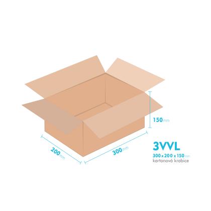 Kartonové krabice 3VVL - 300x200x150mm - vnitřní 295x195x140mm