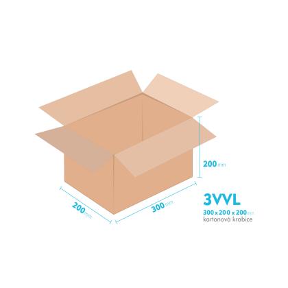 Kartonové krabice 3VVL - 300x200x200mm - vnitřní 295x195x190mm