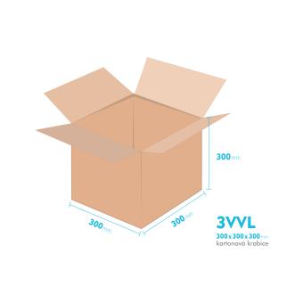 Kartonové krabice 3VVL - 300x300x300mm - vnitřní 295x295x290mm