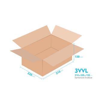 Kartonové krabice 3VVL - 310x220x150mm - vnitřní 305x215x140mm