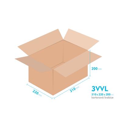 Kartonové krabice 3VVL - 310x220x200mm - vnitřní 305x215x190mm
