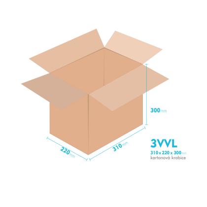 Kartonové krabice 3VVL - 310x220x300mm - vnitřní 305x215x290mm