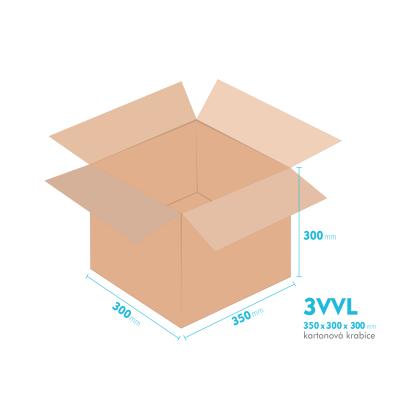 Kartonové krabice 3VVL - 350x300x300mm - vnitřní 345x295x290mm