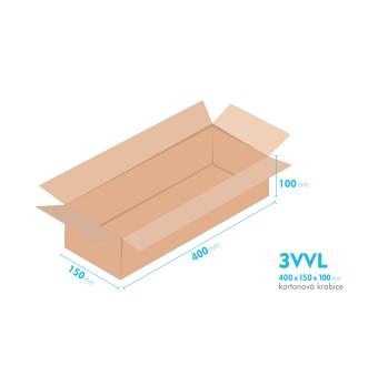 Kartonové krabice 3VVL - 400x150x100mm - vnitřní 395x145x90mm