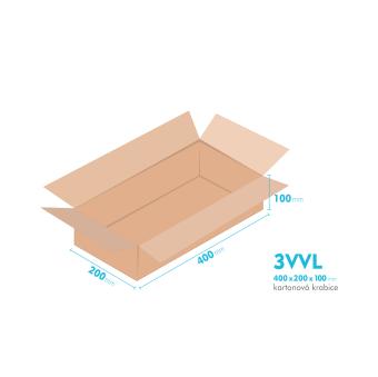 Kartonové krabice 3VVL - 400x200x100mm - vnitřní 395x195x90mm