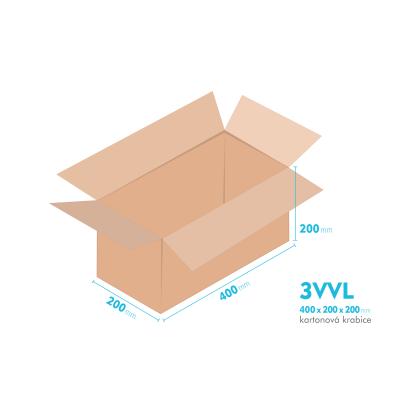 Kartonové krabice 3VVL - 400x200x200mm - vnitřní 395x195x190mm