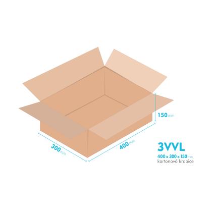 Kartonové krabice 3VVL - 400x300x150mm - vnitřní 395x295x140mm
