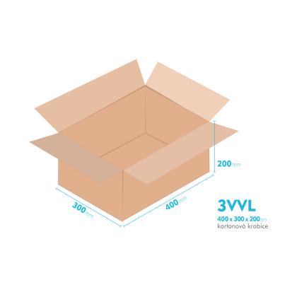 Kartonové krabice 3VVL - 400x300x200mm - vnitřní 395x295x190mm