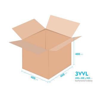 Kartonové krabice 3VVL - 400x400x400mm - vnitřní 395x395x390mm