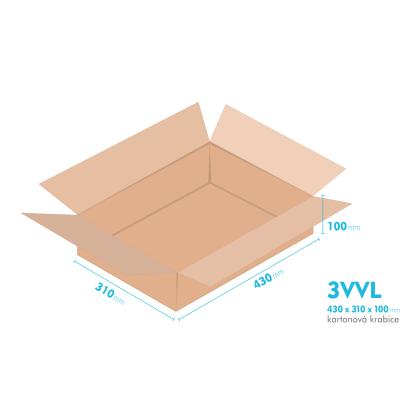 Kartonové krabice 3VVL - 430x310x100mm - vnitřní 425x305x90mm