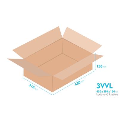 Kartonové krabice 3VVL - 430x310x150mm - vnitřní 425x305x140mm