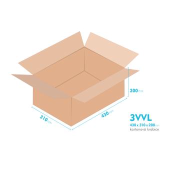 Kartonové krabice 3VVL - 430x310x200mm - vnitřní 425x305x190mm