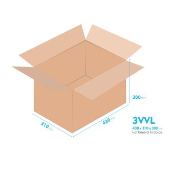 Kartonové krabice 3VVL - 430x310x300mm - vnitřní 425x305x290mm