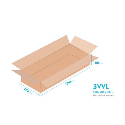 Kartonové krabice 3VVL - 500x200x100mm - vnitřní 495x195x90mm